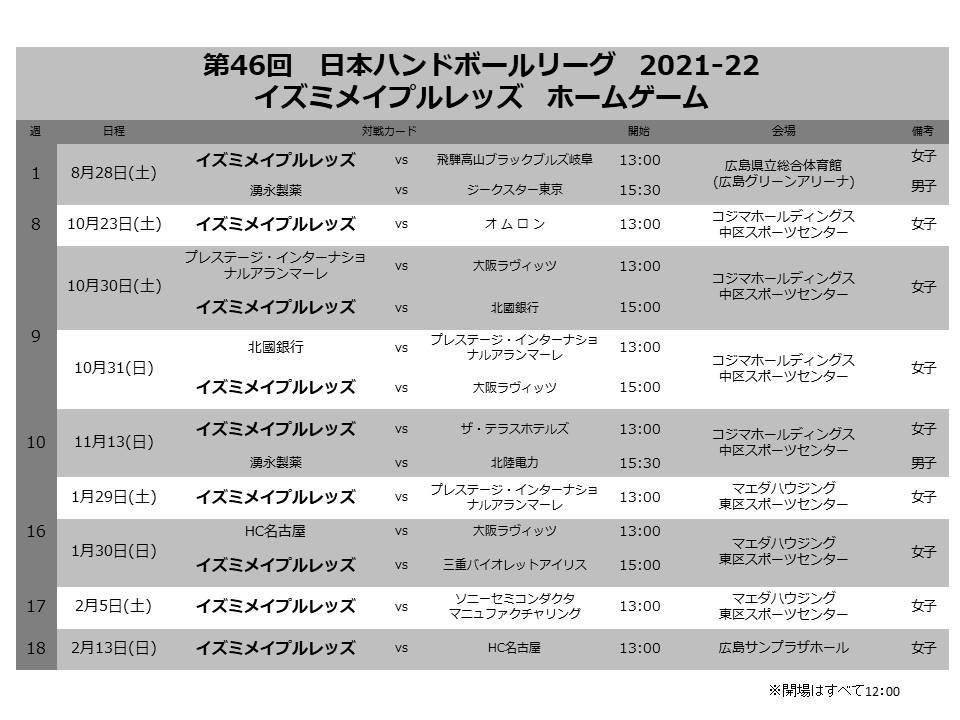 第46回日本ハンドボールリーグ ホームゲームチケット情報 イメージ